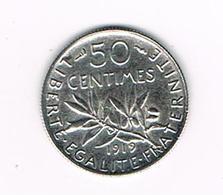 //  FRANKRIJK   50 CENTIMES 1919  ZILVER - France