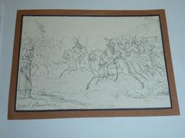 DESSIN DE PAUL FLANDRIN Né à Lyon Le 28 Mai 1811 - CHARGE DE HUSSARDS, Signé PAR L'AUTEUR  (AE) - Dessins