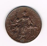 //  FRANKRIJK 10 CENTIMES 1913 - France