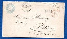 Suisse  -  Entier Postal  De Einsiedeln  --  Pour Poitiers -  4 Jan 1870 - Ganzsachen