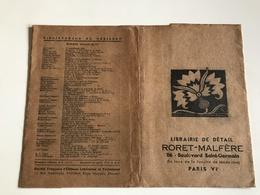 Protege Livre - Librairie De Detail RORET MALFERE - PARIS VIe - Vloeipapier