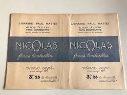 Protege Livre - Librairie Paul MATTEI / NICOLAS Fines Bouteilles (vin Rouge) - PARIS Bd De Clichy - Vloeipapier