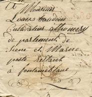 Lettre Griffe Rouge ANGERS Le 8 Octobre 1811, Vers Fontainebleau; Port De 6 Décimes. Contenu Intéressant : Soldat ARMEE - Marcofilie (Brieven)