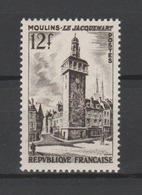 FRANCE / 1955 / Y&T N° 1025 ** : Tour-horloge Jacquemart De Moulins (Allier) X 1 - Gomme D'origine Intacte - Ongebruikt