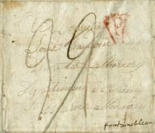 Lettre Griffe Rouge P De PARIS Le 3 Janvier 1810, Vers Fontainebleau; Port De 22 Décimes. Contenu Intéressant :Louis Ba - 1792-1815: Conquered Departments