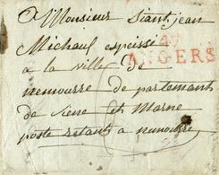 Lettre Griffe Rouge 47 ANGERS Le 24 Février 1810 Vers Fontainebleau; Port De 6 Décimes. Contenu Intéressant : Soldat AR - Marcofilie (Brieven)