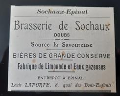 BRASSERIE SOCHAUX SOURCE LA SAVOUREUSE BIERES GRANDE CONSERVE FABRIQUE LIMONADE EAUX GAZEUSES 1905 DOUBS BIERE 25 - Pubblicitari