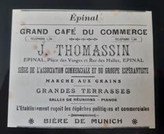 EPINAL 88 GRAND CAFE DU COMMERCE THOMASSIN ASSOCIATION ESPERANTISTE BIERE DE MUNICH MARCHE AUX GRAINS PUB VOSGES 1905 - Werbung