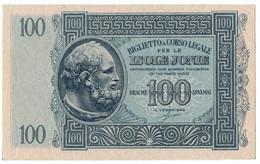 100 DRACME BIGLIETTO A CORSO LEGALE PER LE ISOLE JONIE APRILE 1942 QFDS - [ 3] Militaire Uitgaven