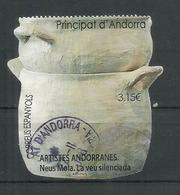 Artistes Andorranes, 1 Timbre Oblitéré 2017, 1 ère Qualité, Haute Faciale, Pour Lettre Recommandée - Used Stamps