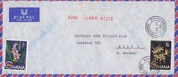 Ghana Air Mail POMGRAD, SEKONDI 1964 Cover Brief DEUTSCHE BANK Köln Germany Flower Blumen Stamps 1/- & 11d. - Ghana (1957-...)