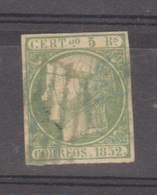 Año 1852 Edifil 15 Isabel II 5 R.  Membrete De A.Roig En El Dorso - Gebraucht