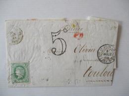 ESP. ST-JEAN DE LUZ 1 AVRIL 64  TOULOUSE 5 AVRIL 64 ESPANA CACHET ROUGE 1 AVRIL 5c TIMBRE CORREOS 12 Ctos 1864 - Poststempel (Briefe)