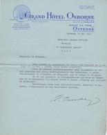 Ostende, Grand Hôtel Osborne 1937. - Alte Papiere