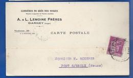 DARNEY   Carte à Entête D'Entreprise    Carrière De Grès Des Vosges   A.L LEMOINE Frères         écrite En 1935 - Darney