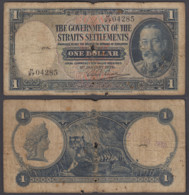 Straits Settlements 1 Dollar 1935 (VG) Condition Banknote P-16b KGV W/Stamp - Banknotes