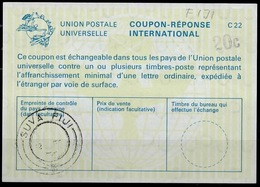 FIDJI FIJI La22B HS 20c ( Top Right ) International Reply Coupon Reponse Antwortschein IAS IRC O SUVA FIJI 22.02.75 - Fiji (1970-...)