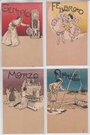 RARE SET  12 POSTCARDS -  MONTHS OF THE YEAR - 1900'S - ITALY - ITALIA - Cartoline