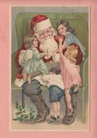 RARE OLD POSTCARD EMBOSSED - SANTA - FATHER CHRISTMAS  CHILDREN - VIVE ST. NICOLAS - Santa Claus