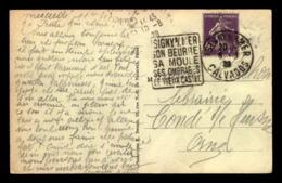 CACHET DAGUIN - ISIGNY-SUR-MER SON BEURRE SA MOULE SES OMBRAGES LE VIEUX CASTEL (CALVADOS) - Marcophilie (Lettres)