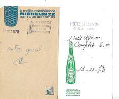 2 Facturettes / 01 GEX / MERIGOT Station Shell 1972 , Pub Michelin / Hôtel BELLEVUE 1973, Pub Vins Mercier à CREPY - Frankreich