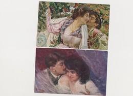 2 Cartes Fantaisie  Signées B.Cascetta / Couple , Baiser Sur La Joue Et Sur Le Front - Illustrateurs & Photographes
