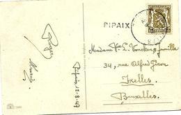 LE 0069 - N° 420 Obl. AMBULANT TOURNAI-BRUXELLES 12.8.47 + GRIFFE PIPAIX V. Ixelles. Peu Ct - Marcophilie