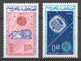 Morocco 1965 Mi# 546-47** ITU, CENTENARY - Maroc (1956-...)