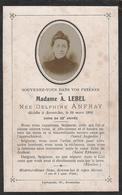 Faire-Part De Décès & Photo De Madame A. Lebel, Née Delphine Anfray Décédée à Avranches (50300) Le 29.03.1905, à 53 Ans - Todesanzeige