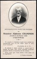 Faire-Part De Décès & Photo De Mr Alphonse Champion Décédée à Avranches (50300) Le 13.02.1936, à 80 Ans - Todesanzeige
