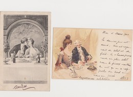 2 Cartes Fantaisie Dessinées( Dont Une Signée Illisible) / Couple à Table - Phantasie