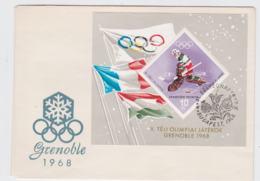 Hungary FDC 1968 Grenoble Olympic Games Souvenir Sheet   (L71-33) - Winter 1968: Grenoble