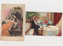 2 Cartes Fantaisie  / Couple Dans L'intimité . - Couples