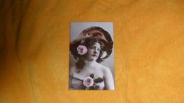 CARTE POSTALE ANCIENNE CIRCULEE DE 1908.../ JOLIE PORTRAIT DE FEMME AVEC CHAPEAU..CACHET + TIMBRE SUISSE.. - Women