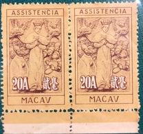 MACAU 1953 20 AVOS ASSISTENCIA, MERCY STAMPS, UNUSED NO GUM AS ISSUED IN PAIR, PERF. 11 - Autres