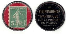 "RARE TIMBRE MONNAIE ""RHUM MADDHAN MARTINIQUE "" Avec SEMEUSE 5c VERT (FOND ROUGE) - Monnaies"