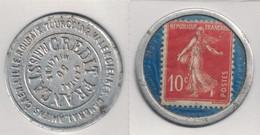 """TIMBRE MONNAIE """" LE CREDIT FRANÇAIS """" Avec SEMEUSE 10c ROUGE (FOND BLEU) - Monetary / Of Necessity"""