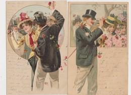 2 Cartes Fantaisie  / Homme En Chapeau Haut De Forme, Jeunes Femmes , Bataille De Fleurs - Fantaisies