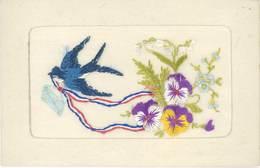 Cpa Fantaisie Brodée – Oiseau Bleu, Lettre Et Fleurs ( écrite De Saint-Lunaire ) - Brodées