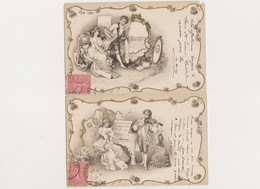 2 Cartes Fantaisie  / Couple Musicien / Jeune Homme Faisant Le Portrait De La Jeune Fille - Autres