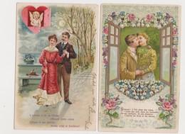 3 Cartes Fantaisie Gaufrées / Couple /Coeur /Cupidons - Couples