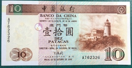 BOC / BANK OF CHINA FIRST BANK NOTE 1995 UNC WITH NICE NUMBER - Macao