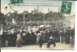 25 - Besançon - Les Fêtes Des14,15 Et 16 Août 1909 - Défilé Des Vétérans Devant La Statue Du Gal Jeanningros - Besancon