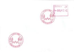 ATM107A Met Rode Stempel 15 Juli 2002 8500 Kortrijk Op Envelop - Obp 12,50 Euro - Postage Labels