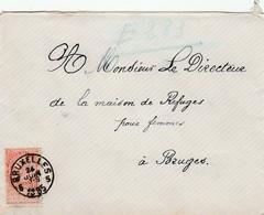 """10 Ct Op Brief Brussel 1885 Naar """"La Maison De Refuges Pour Femmes"""" Te Brugge. - 1893-1900 Fine Barbe"""