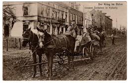 Der Krieg Im Osten, Unsere Soldaten In Kybarty, Kybartai, Pferde Fuhrwerk, Alte Postkarte 1915 Feldpost - Litauen
