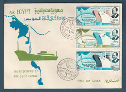 Egypt - 1975 - RARE - FDC - ( Reopening Of The Suez Canal, June 5 - President Anwar El Sadat ) - Egypt