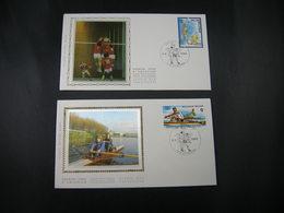 """BELG.1987 2259 & 2260 FDC's Soie/zijde (Antwerpen) : """" Roeien / Aviron & Volley-ball """" - 1981-90"""
