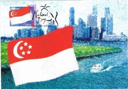 33633. Tarjeta Maxima SINGAPORE 2003. National Day. Flag, Bandera - Singapur (1959-...)