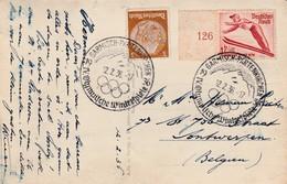Special Card Olymp.Winterspiele 1936, Franking Yv 560 + Special Cancellation Ol.Winterspiele Garmisch-Partenkirche - Winter 1936: Garmisch-Partenkirchen